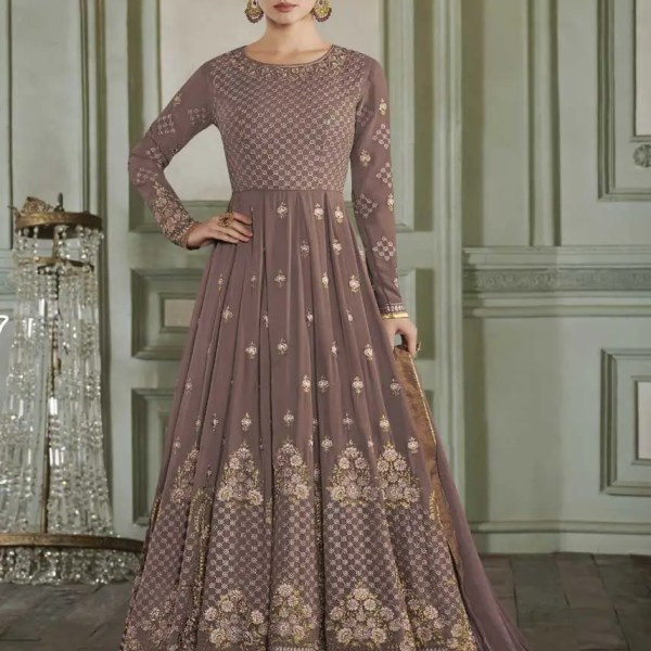 Brown Color Apple Georgette Party Wear Anarkali Suit-27015