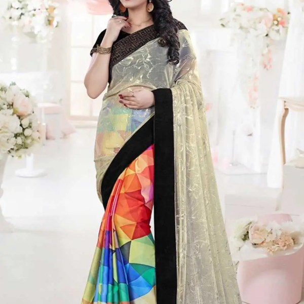 Stunning White Color Stone Work Net Party Wear Saree-2061