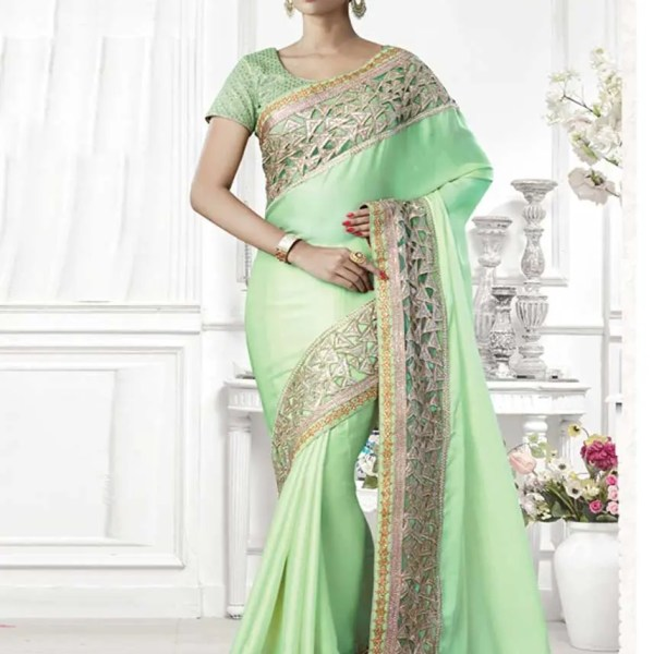 Gorgeous Green Color Silk Georgette Party Wear Saree-2089-C