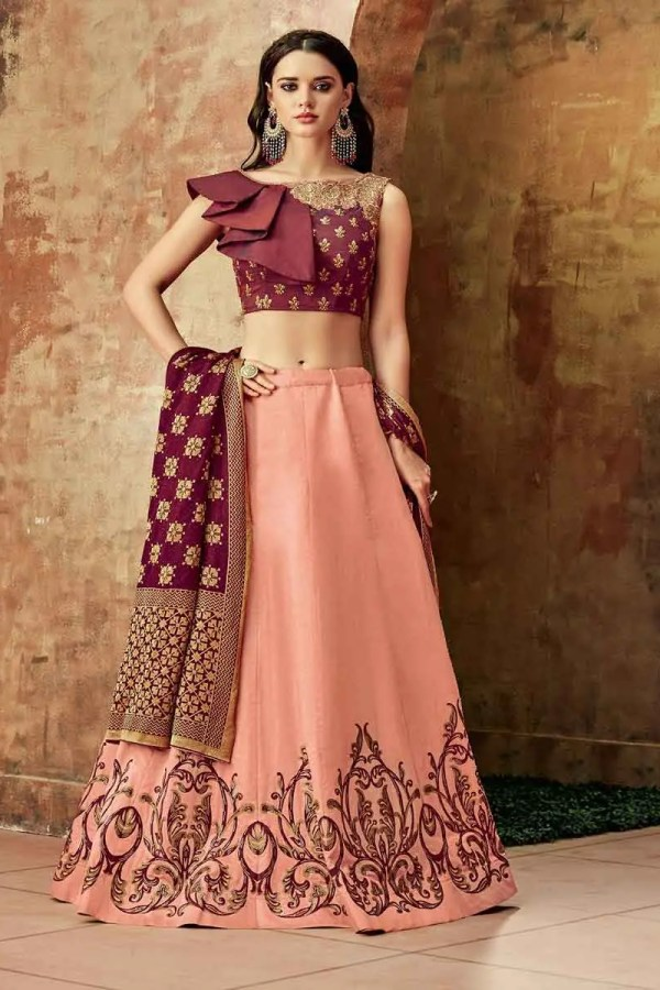 Adorable Peach Color Zari Embroidery Silk Lehenga Choli-7707
