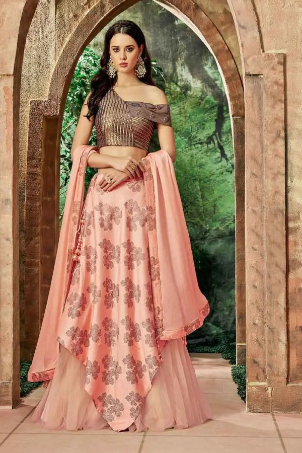 Exclusive Peach Color Silk And Net Lehenga Choli-7716