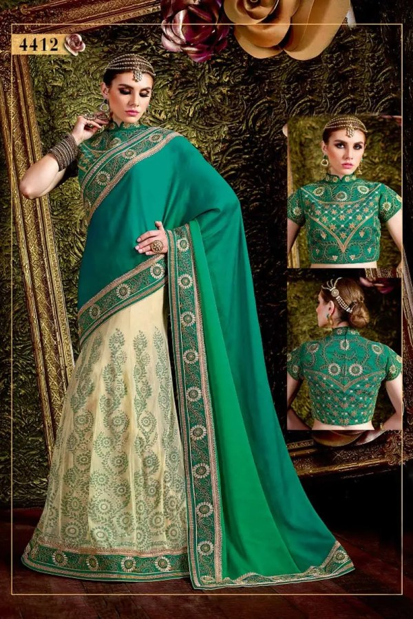 Turquoise Blue And Pista Color Silk Georgette And Net Stone Work Saree-4412