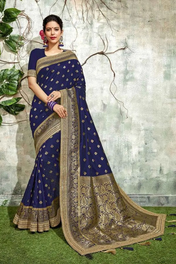 Blue Color Silk Party Wear Saree
