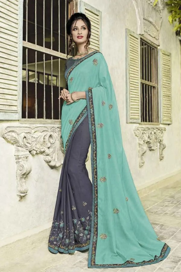 Awesome Cyan And Grey Color Silk And Moss Chiffon Saree-40105Awesome Cyan And Grey Color Silk And Moss Chiffon Saree-40105