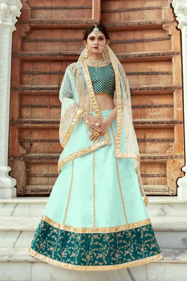 Green Silk Wedding Wear Lehenga