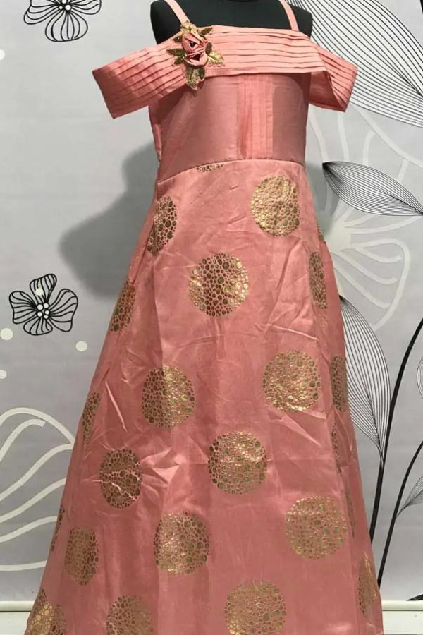 Salmon Pink Color Thai Silk Kids Gown