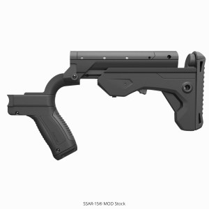 a black bump stock made by Slide Fire for the AR-15 rifle