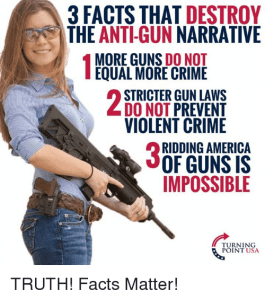Woman holding a gun with three gun facts