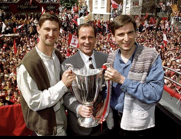 The skipper, the manager and the scorer of the winning goal parade the Cup Winners Cup in 1994