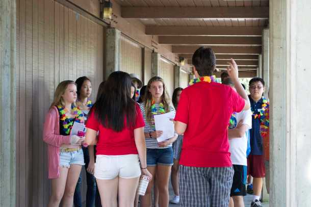 Link Crew Leaders senior Danny Golovinsky and sophomore Sarah Reich guide their group of freshmen through Gunn's campus.