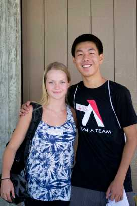Sophomores Tuva Nygren and Tone Lee at Orientation.
