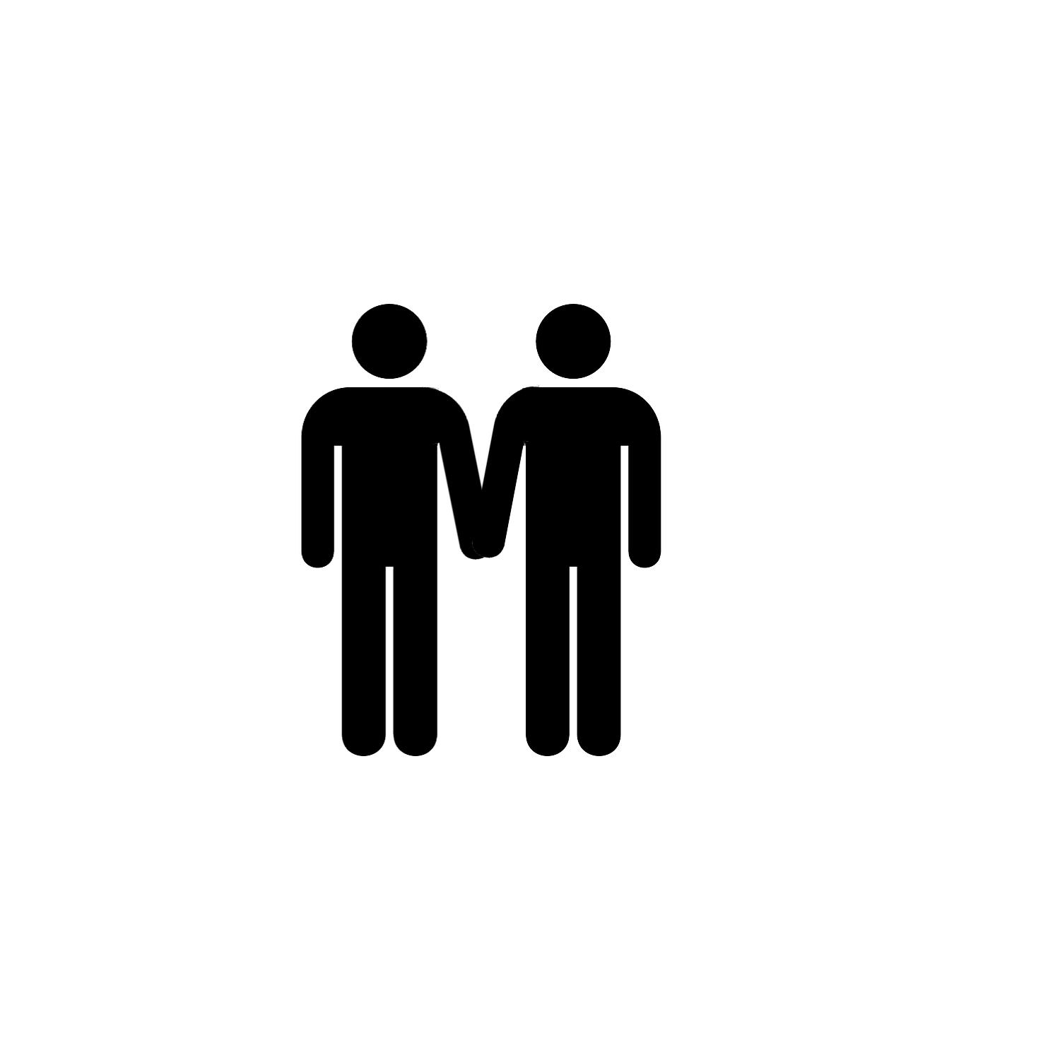 male bathroom sign holding hands