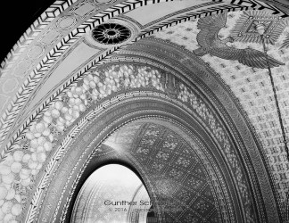 Architectural detail of the Fisher Building, shot from the 3rd floor120 6x6 Black and White Film