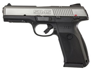 The Ruger SR45. Remove the back strap pin, slide the back strap out, turn it around, insert back strap, insert pin. Voila! A new grip!