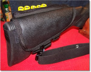 Mounted on Mossberg 500 20-gauge - Right Side. Note LimbSaver Recoil Pad.