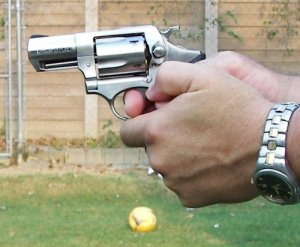 Example of a Good Grip for the Revolver - All Fingers Away from the Cylinder Gap