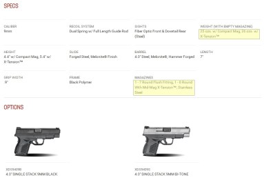 XDs 4.0 9mm Specifications