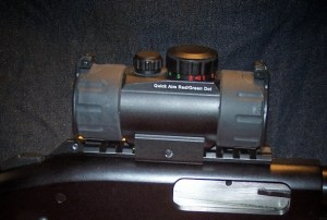 A The UTG-RG40CDQ red/green dot sight replaced a damaged green laser. A laser sight was still desired, however.