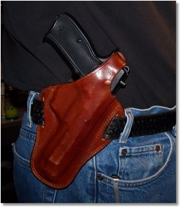 The CZ 75B Ω (Omega) Works fine in the Bianchi 7/7L OWB Holster. Note the Thumb Break.