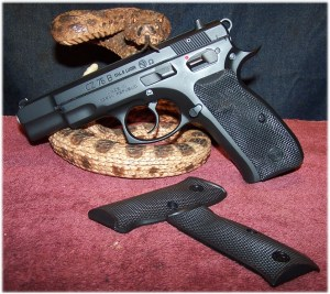 CZ75B Ω (Omega)  With New Rubber Grip Panels - Note Thumb Rest on Left-Side Panel