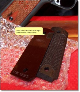 LOK Grips Checkered Classic 1911 Grips Standard Full Size Commander.  They come ambidextrous safety ready