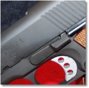 The Slide Lock Assembly, Also from the Rock Island 1911 FS Tactical blends in well with the Springfield's Parkerized 1911 Loaded Frame