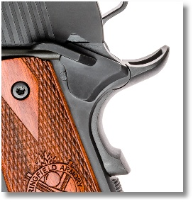 Well-Swept Beaver-tail Grip Safety Adds Comfort and Control. Note Memory bump for Positive Engagement
