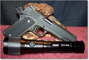 The Rock Island Armory 1911 FS Tactical and Coleman CT70 Flashlight - Part of the Home Defense Varsity Team