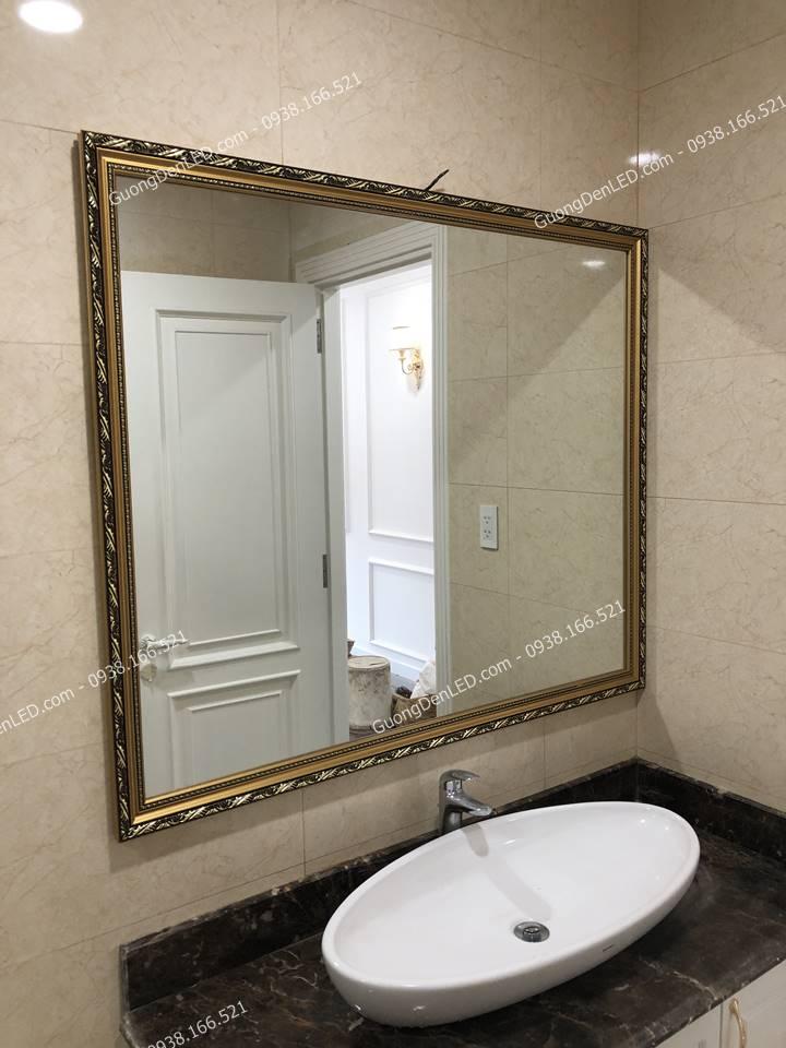 Gương Soi Nhà Tắm Hoa Văn Gỗ Tự Nhiên 100 x 120