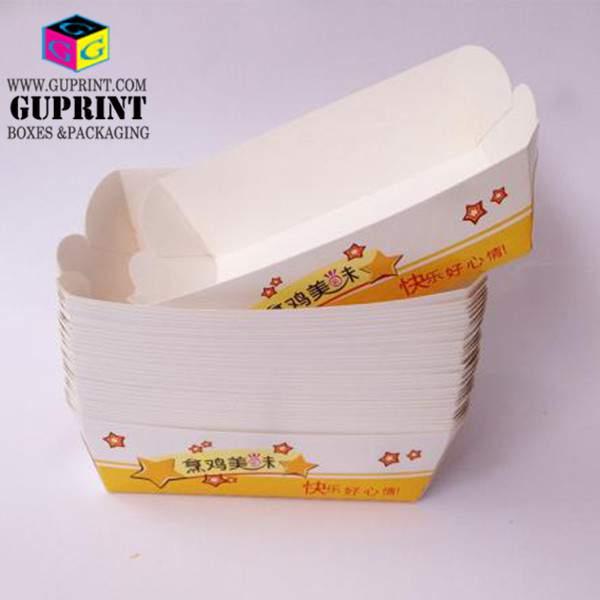 Custom LOGO Guprint White Paper Boat Shaped Food Box
