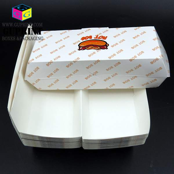 Custom printed white hot dog clamshell paperboard disposable