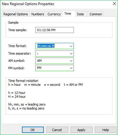 Regional Options Time tab