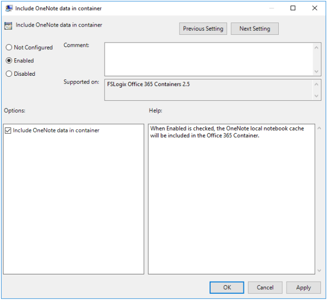 FSLogix Include OneNote data in container Setting