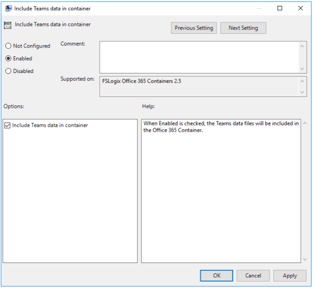 FSLogix Include Teams data in container Setting
