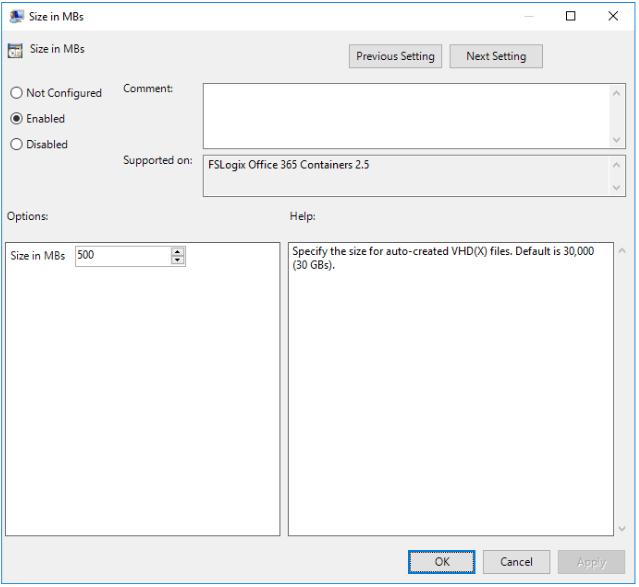 FSLogix SizeinMBs Setting