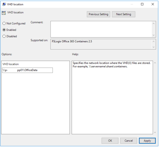 FSLogix VHDLocation Setting