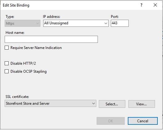 IIS https binding select SSL Certificate