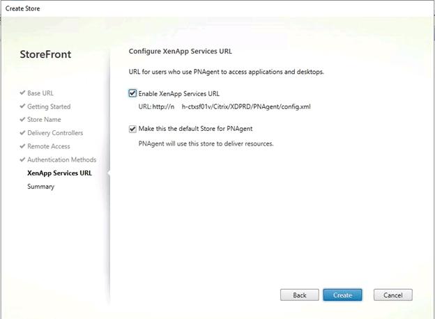 Storefront XenApp Services URL