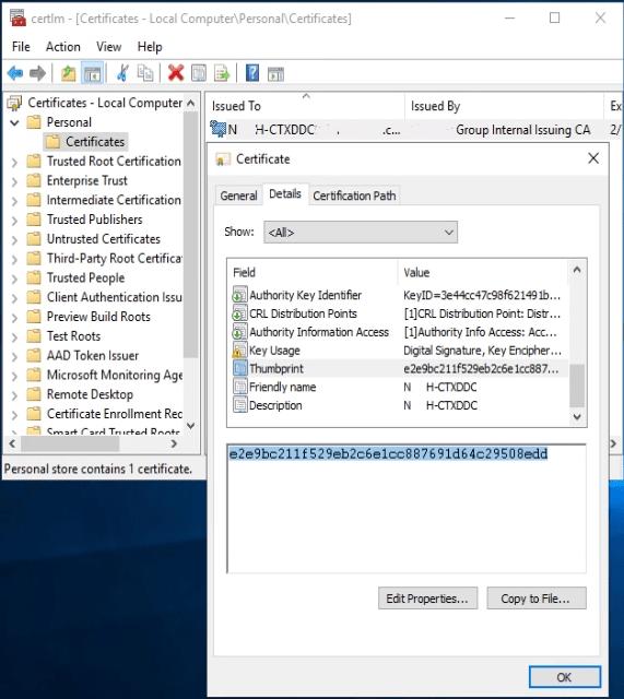 Binding SSL Certificate to Citrix Broker Service Thumbprint