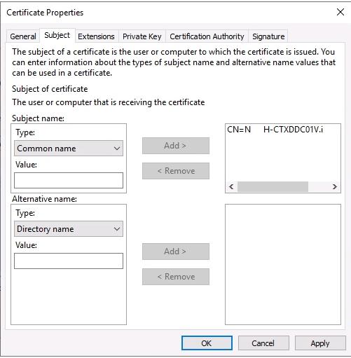 Certificate Properties Subject tab