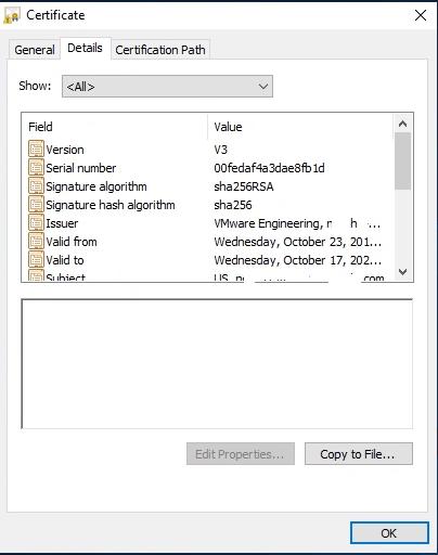 vSphere Self Signed certificate Copy to File