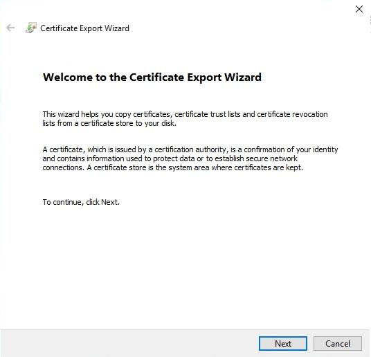 vSphere Self Signed certificate Export Wizard