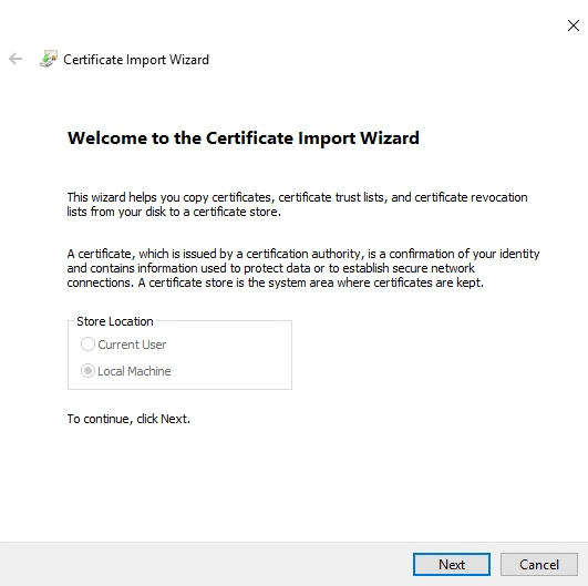 vSphere Self Signed certificate import to Local Machine