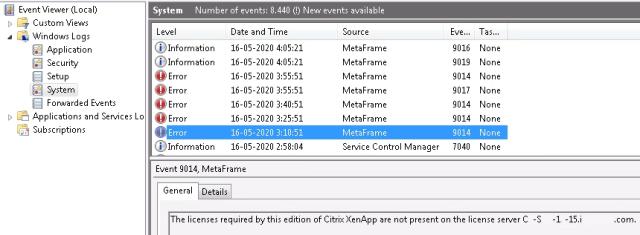 XenApp License Acquisition Error -18