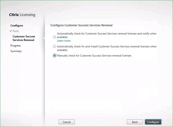 Citrix Licensing Configure Custom Success Service Renewal