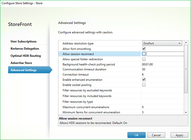 Disable Citrix Workspace Control Reconnect in Storefront store settings