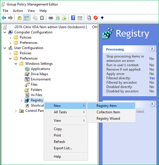 Group policy preference new registry item
