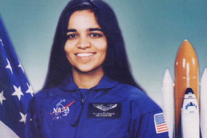 "The Cover of Gurdeep Pandher's book on Kalpana Chawla ""Among the Stars""."