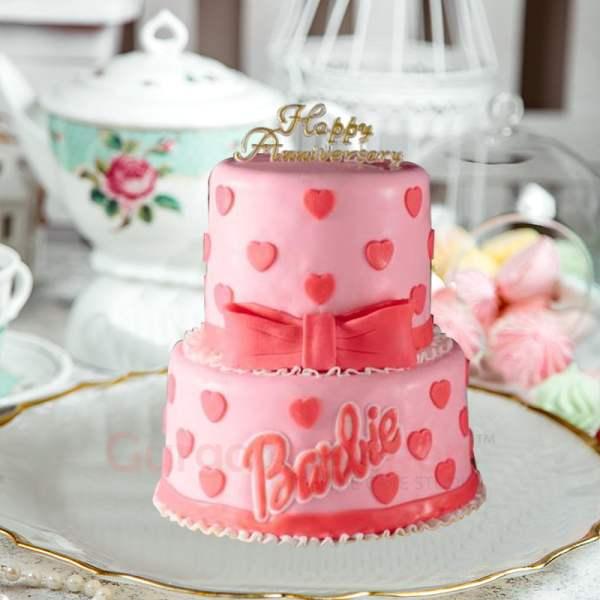 barbie hearts cake