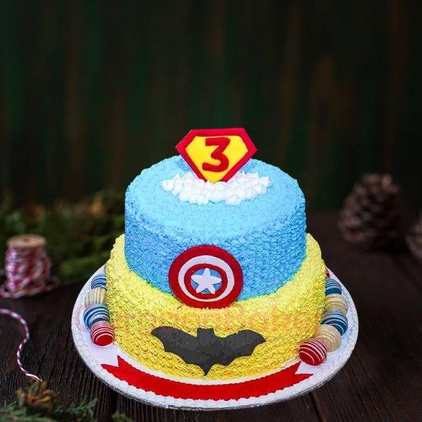 batman vs captain america cake